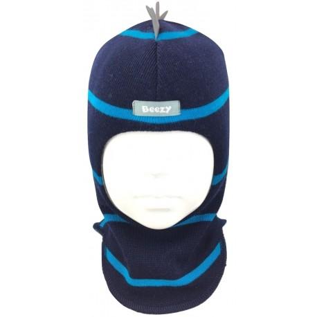 """Tamsiai mėlyna, dryžuota kepurė-šalmas su vilna berniukui """"Drakonas"""""""