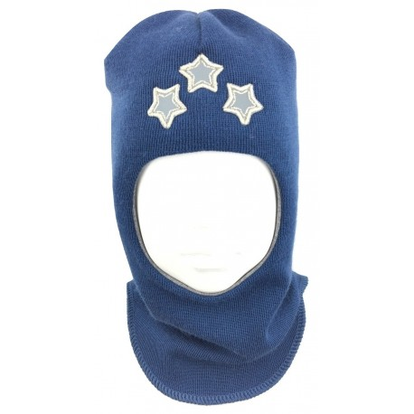 """Mėlyna kepurė-šalmas su vilna berniukui """"Žvaigždės"""""""