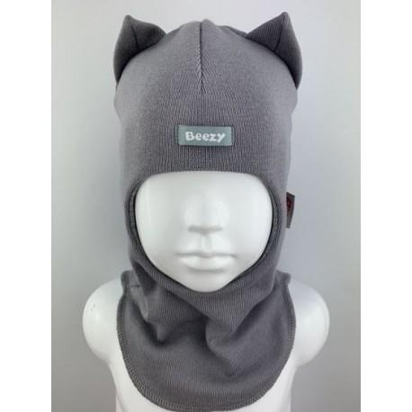 "Demisezoninė pilka kepurė-šalmas berniukui ""Beezy"", 1750-11"