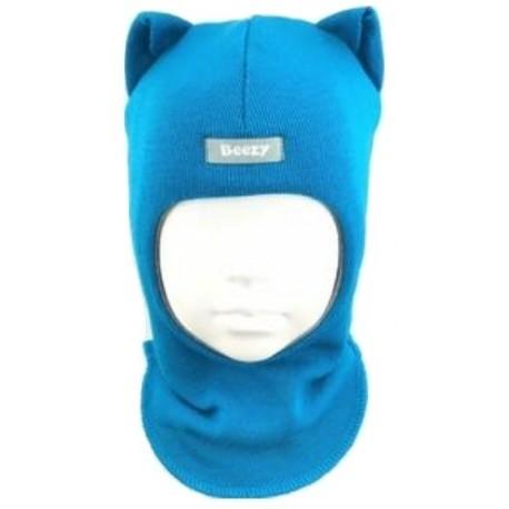 """Vienspalvė, žydra kepurė-šalmas su vilna """"Katinukas"""""""