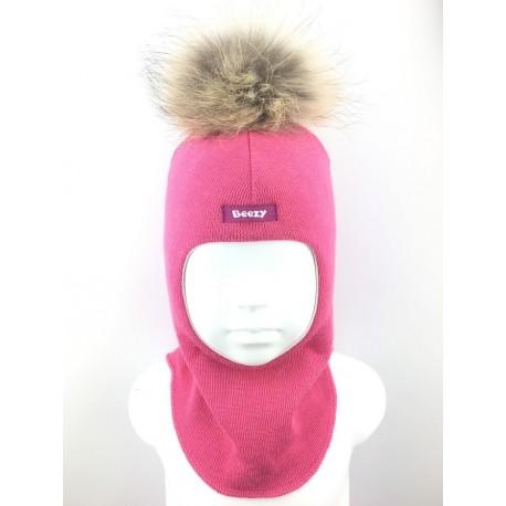 Vienspalvė, rožinė kepurė-šalmas su vilna mergaitei 1802/14