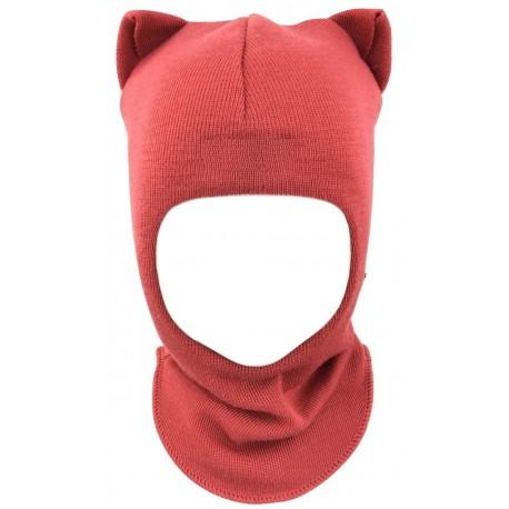 """Vienspalvė, koralinė kepurė-šalmas su vilna """"Katinukas"""""""