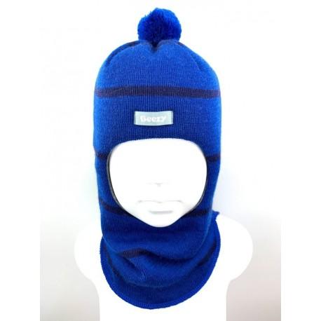 Dryžuota kepurė-šalmas su vilna berniukui 1622/44