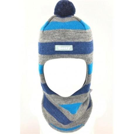 Dryžuota kepurė-šalmas su vilna berniukui 1622/49