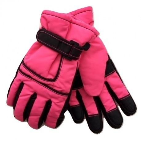 Rožinės pirštuotos neperšlampančios sniego pirštinės 3-14 m mergaitei . MNPIR10038