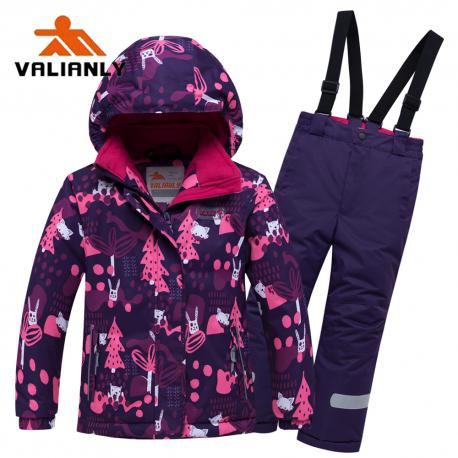 Violetinis 2 dalių žieminis VALIANLY kombinezonas mergaitei 8928